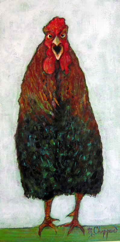 Funky Rooster 12 X 24 inches acrylic and mixed on canvas $180