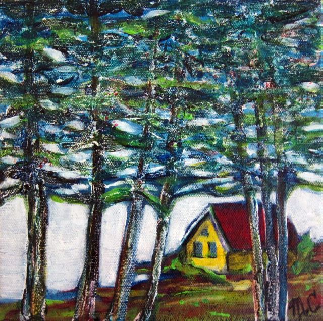 Harald's Cottage  8 X 8 acrylic and mixed on canvas  $40