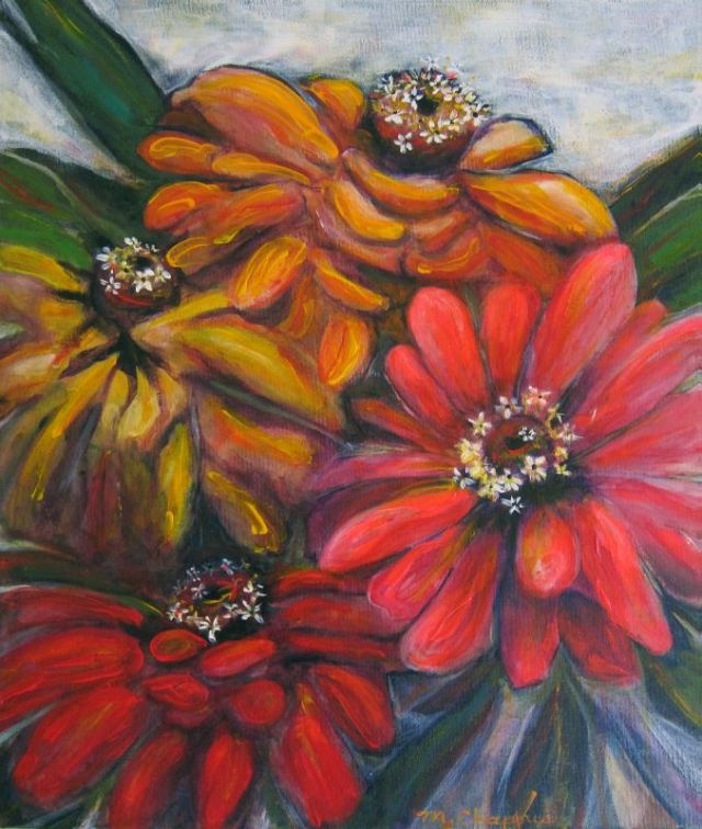 Zinnias 20 X 24 inches acrylic and mixed on canvas nfs