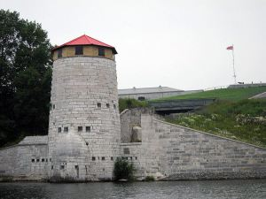 Outside Fort Henry, on the water side.