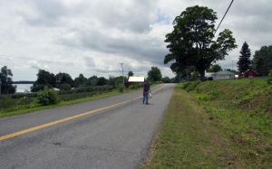 Walking back to the winery from the cidery.  The county roads are very quiet.  Perfect for cycling.