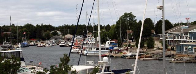 The busy harbour of Tobermory with Guinevere nestled in.