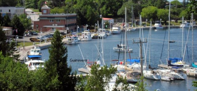 Guinevere is nestled in at the municipal dock in Little Current.