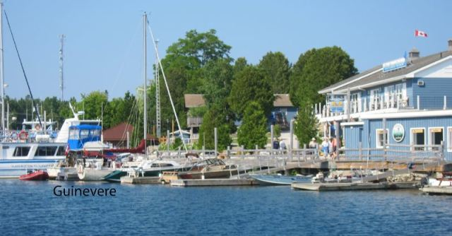 Guinevere is nestled in at Tobermory docks.