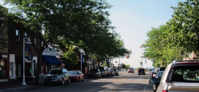 The main street looking toward the harbour.